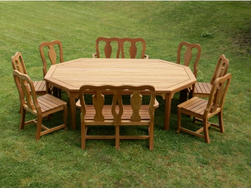 Octagonal Table - Elongated Style, and Queen Anne 2 Seaters and Chairs