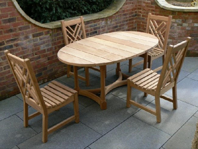 Garden Wooden Table - Oval Refectory Style, and Chinoiserie Chairs