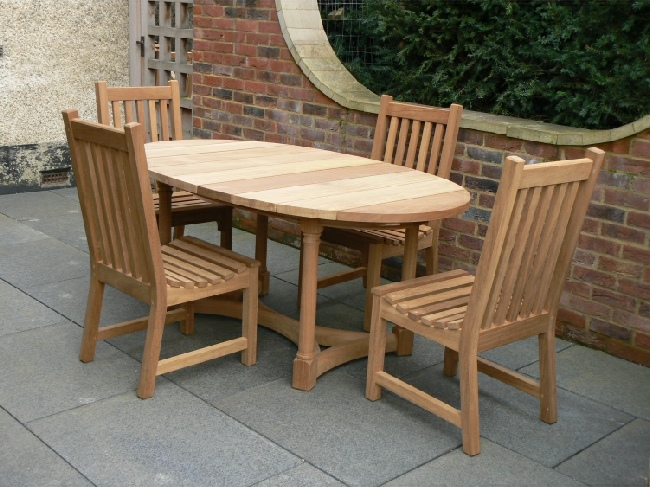 Garden Wooden Table - Oval Refectory Style, and Slatted Chairs