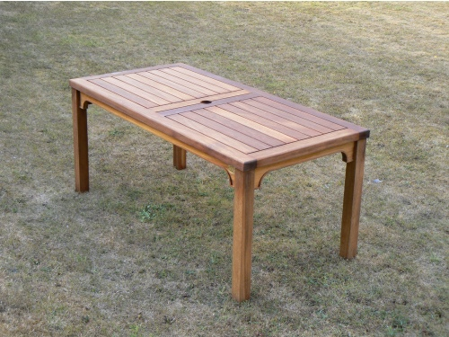 Oak / Iroko Garden Furniture - Rectangular Table - Hadham High Style