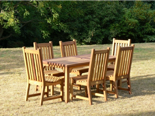 Rectangular Table - Hadham High Style, and Slatted Chairs