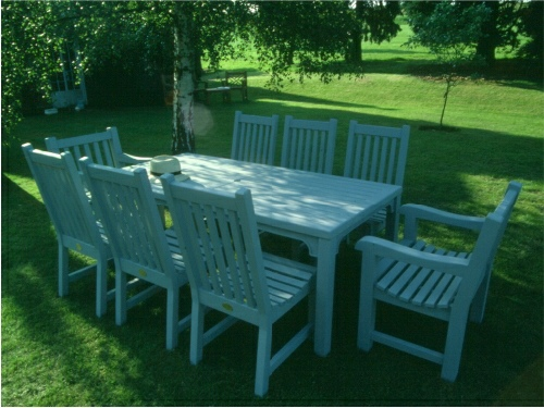 Rectangular Table - Hadham High Style (196 cms), and Slatted Chairs