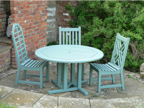 Hadham Round Pedestal Table, Highback Edo, Slatted & Chinoiserie chairs