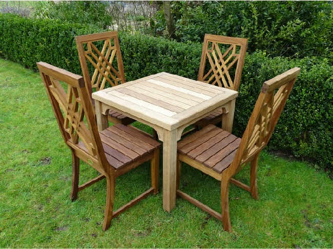 Garden Table and Chairs - Wooden Square Table and The Pavilion Chairs