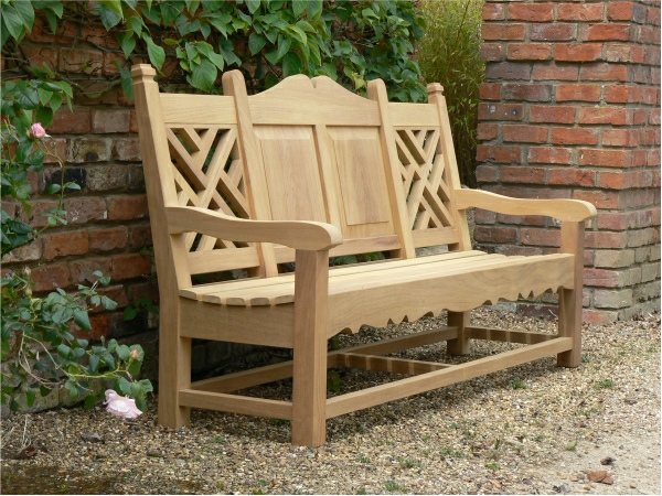 Three Seater Garden Seat - Carlton Style, painted Hopkins Grey