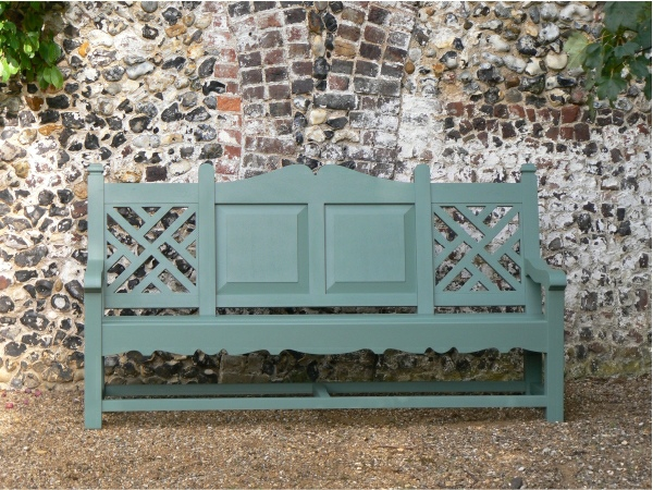 Three Seater Garden Seat - Carlton Style, painted Smoke Green