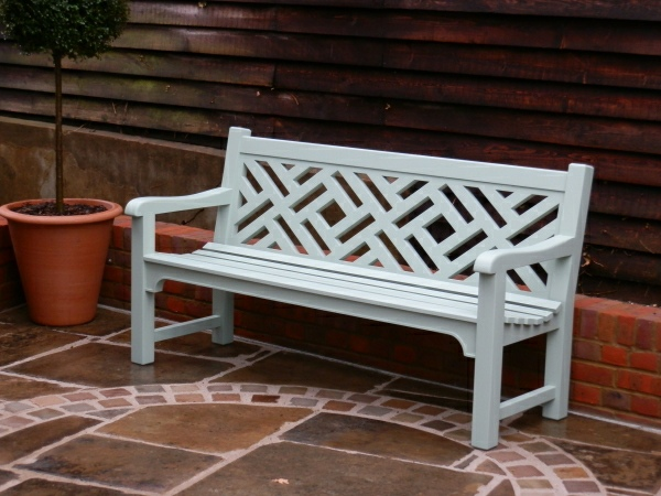 Three Seater Garden Seat - Chinoiserie Heavy Back Style, painted Green
