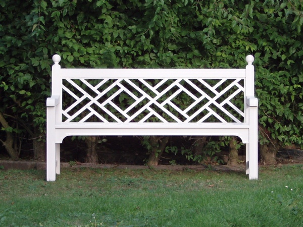 Three Seater Garden Seat - Chinoiserie Style, painted White
