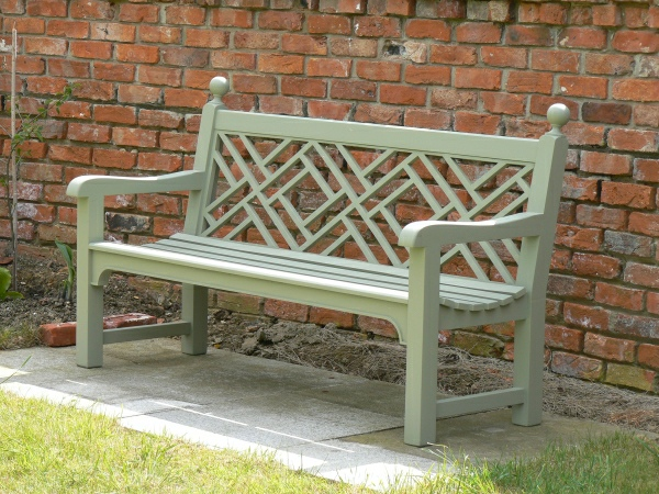 Three Seater Garden Seat - Chinoiserie Style, painted Lichen Green