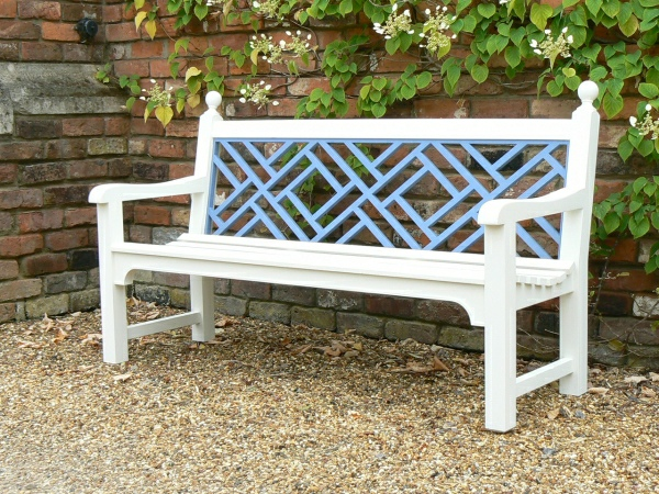 Three Seater Garden Seat - Chinoiserie Style, painted White and Blue