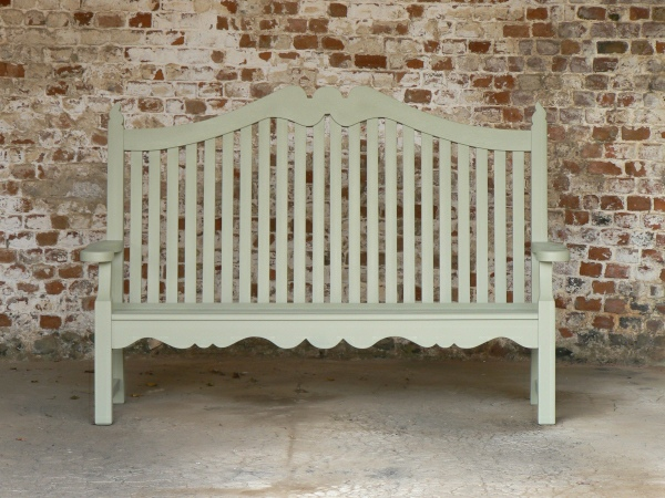 Three Seater Garden Seat - Edwardian Style, painted Lichen Green