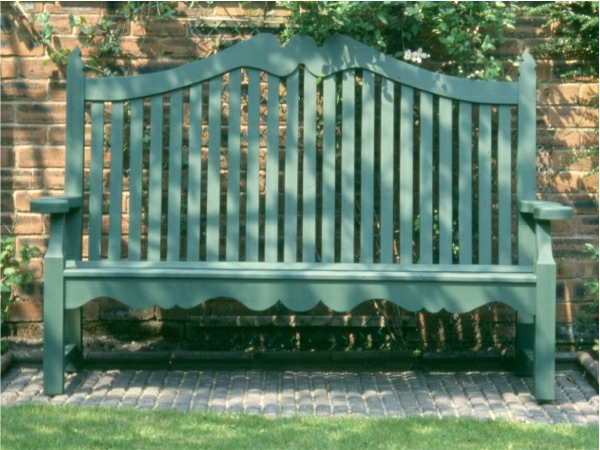 Three Seater Garden Seat - Edwardian Style, painted Dark Sage