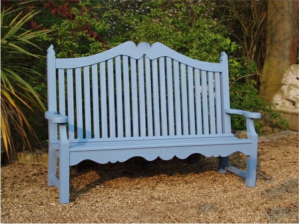 Three Seater Garden Seat - Edwardian Style, painted Cobalt Blue