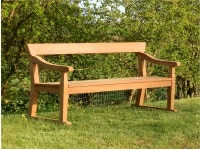 Three Seater Garden Seat - Park Style with a single back rail on Skids