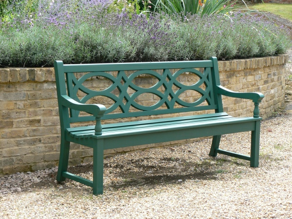 Three Seater Garden Seat - Hatfield Style, painted Malachite Green