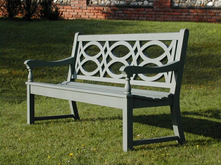 Three Seater Garden Seat - Hatfield Style, painted Smoke Green