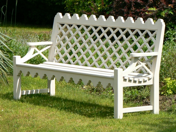 Three Seater Garden Seat - Indian Lattice Style painted White