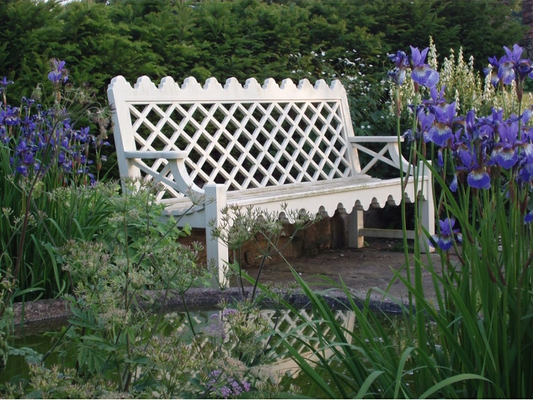 Three Seater Garden Seat - Indian Lattice Style, painted White