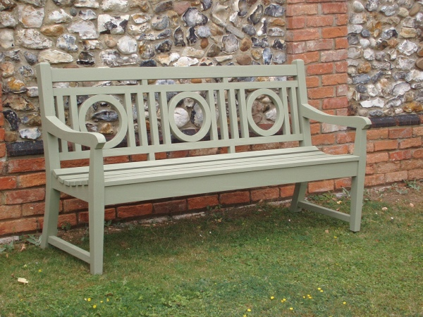 Three Seater Garden Seat - Leagrave Style, painted Lichen Green