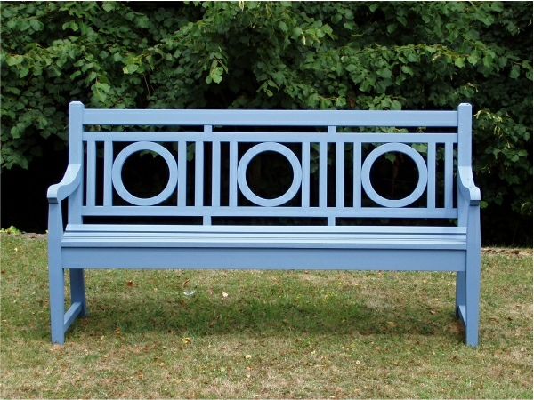 Three Seater Garden Seat - Leagrave Style, painted Dolphin Blue