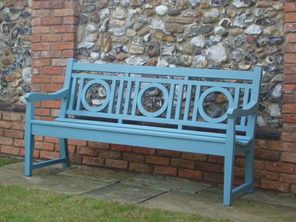 Three Seater Garden Seat - Leagrave Style, painted Morning Blue