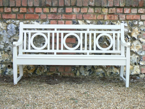 Three Seater Garden Seat - Leagrave Style, painted Old White