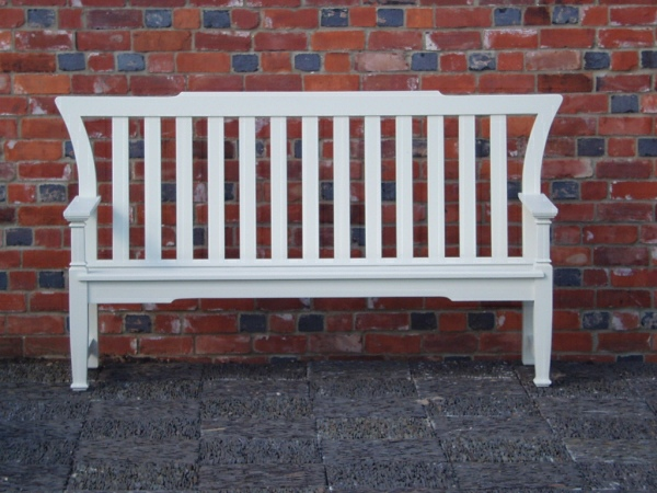 Three Seater Garden Seat - Leighton Style painted Trellis White