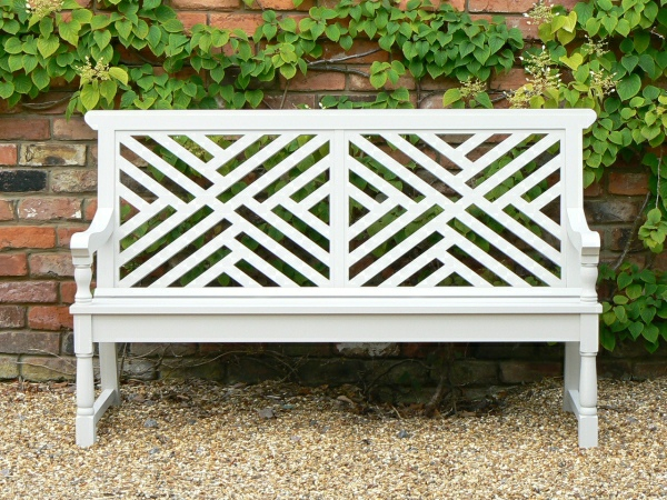 Three Seater Garden Seat - Moot Style with 2 panels, painted Bent Grey