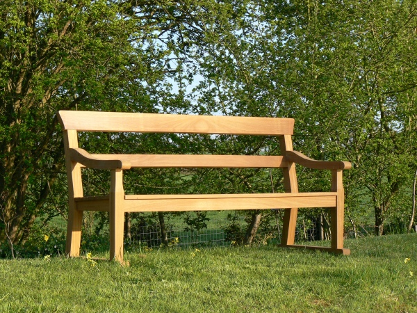 Three Seater Garden Seat - Traditional Park Style with Double Back Rails on Skids