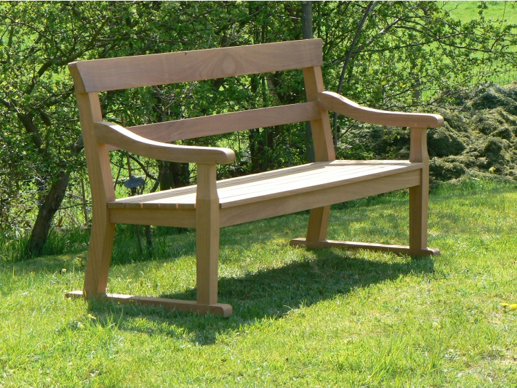 Three Seater Garden Seat - Traditional Park Style, with double back rails on Skids