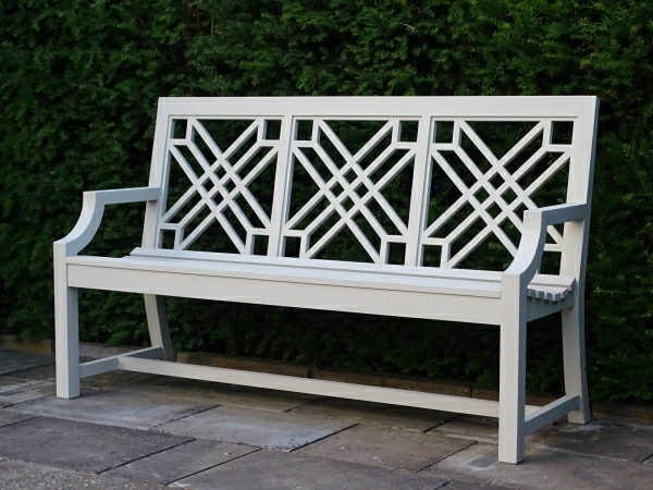 Three Seater Garden Seat - The Pavilion Style painted French Grey