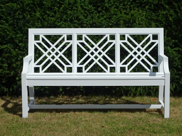 Three Seater Garden Seat - The Pavilion Style painted White