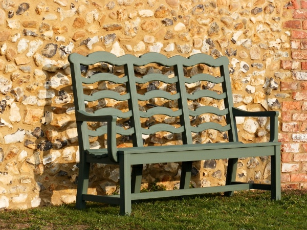 Three Seater Garden Seat - Ladderback Style, painted Dark Sage