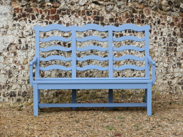 Three Seater Garden Seat - Ladderback Style, painted Dolphin Blue