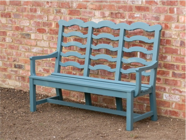 Three Seater Garden Seat - Ladderback Style, painted Peacock Blue
