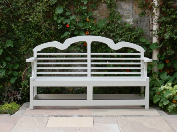 Three Seater Garden Seat - Sissinghurst Style, painted Bent Grey