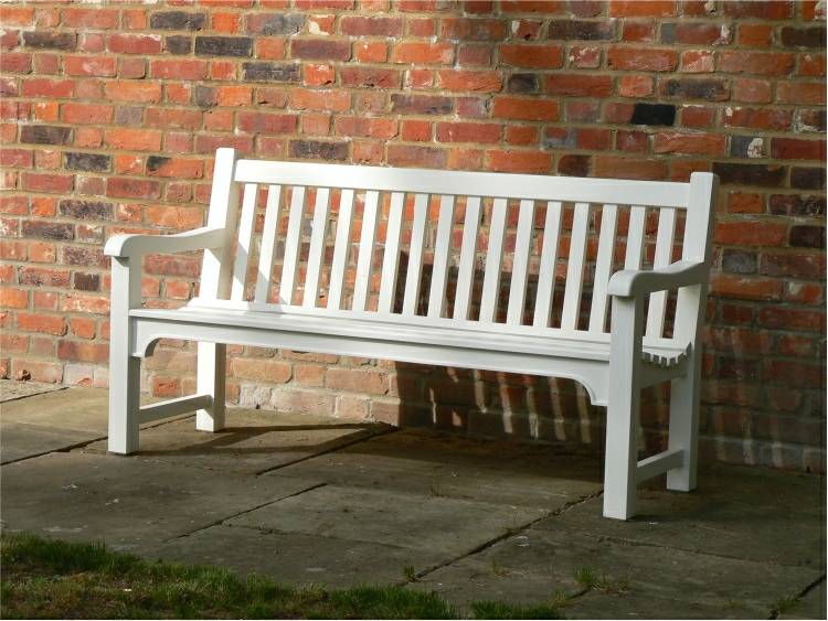 THree Seater Garden Seat - Slatted Style, painted Comulus White