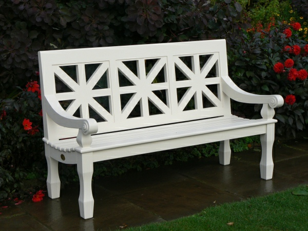 Three Seater Garden Seat - Union Style, painted White