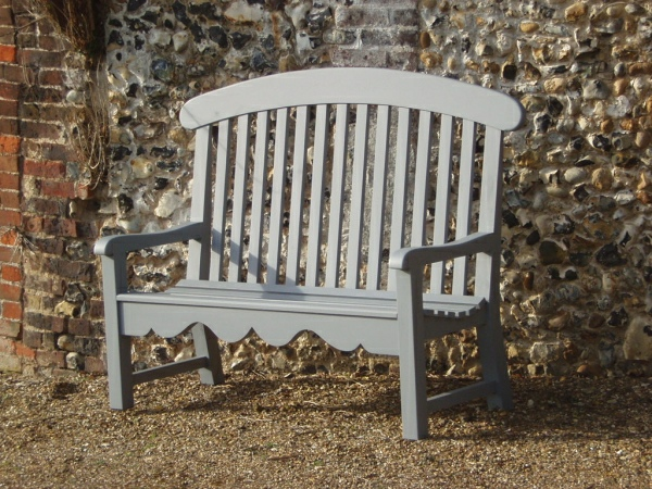 Three Seater Garden Seat - Windsor Style, painted Quarry Grey