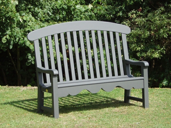 Three Seater Garden Seat - Windsor Style, painted Hopkins Grey