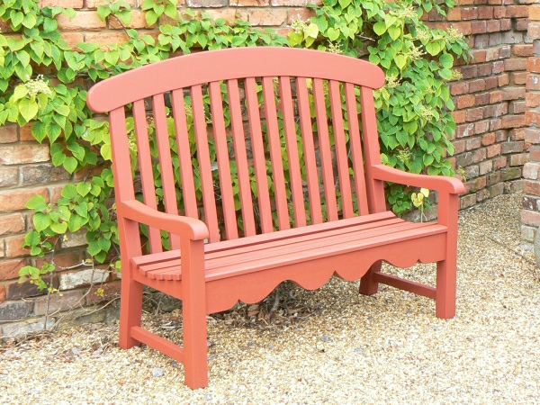 Three Seater Garden Seat - Windsor Style, painted Terracotta