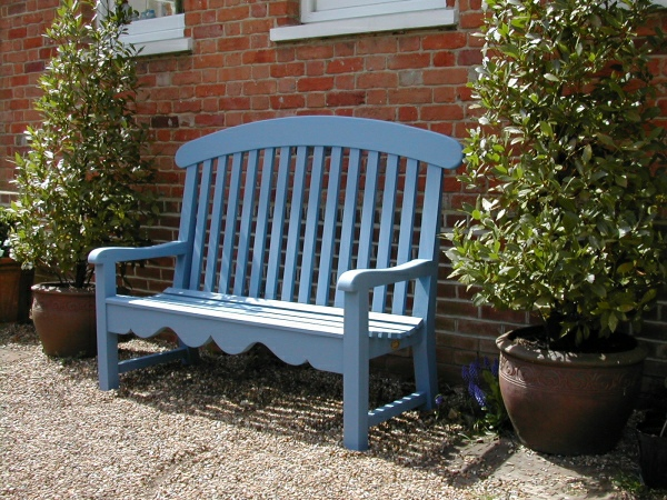 Three Seater Garden Seat - Windsor Style, painted Cobalt Blue