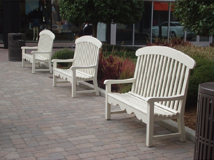 Three Seater Garden Seat - Windsor Style, painted White