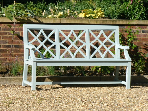 Three Seater Garden Seat - Charles Over (3 Panels) Style, painted Blue Grey