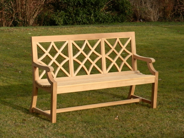 Three Seater Garden Seat - Charles Over (3 Panels) Style, painted Plumbago Blue