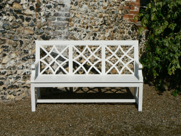 Three Seater Garden Seat - Charles Over (3 Panels) Style, painted White