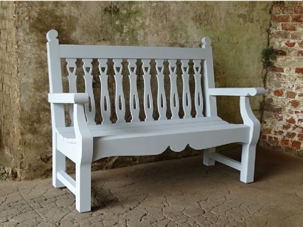 Two Seater Garden Seat - Biddenham Style, panited Parma Grey