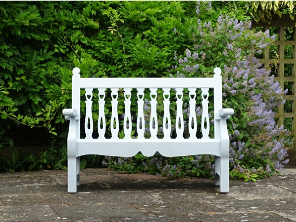 Two Seater Garden Seat - Biddenham Style, painted Trellis White