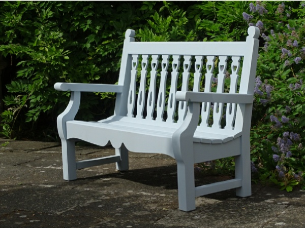 Two Seater Garden Seat - Biddenham Style, painted Parma Grey