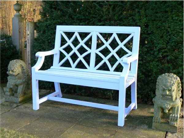 Two Seater Garden Seat - Charles Over 2 Panels Style, painted White